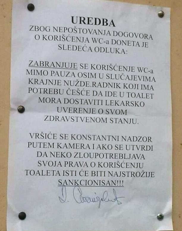 """U firmi """"Mita"""" iz Leskovca doneli """"Uredbu o korišćenju toaleta"""""""