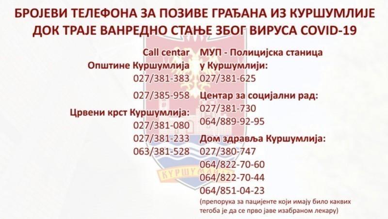 Бројеви за хитне случајеве за грађане у Куршумлији током пандемије