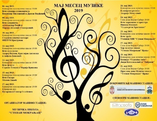 "U Vranju počinje manifestacija ""Maj mesec muzike"""