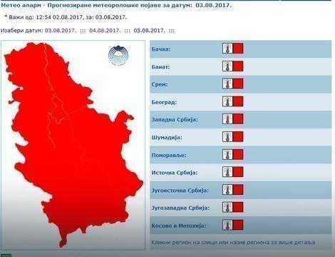 У Нишу и Србији проглашен црвени метеоаларм