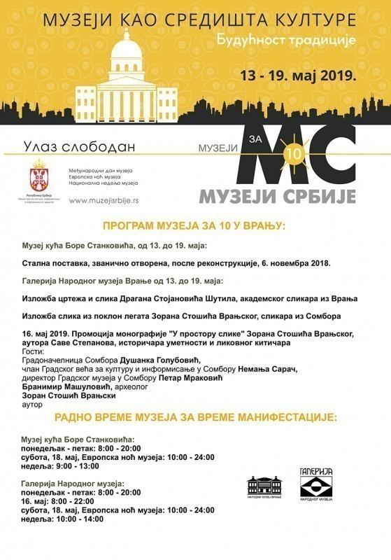 """""""Музеји за 10"""" од 13. до 19. маја у Врању"""
