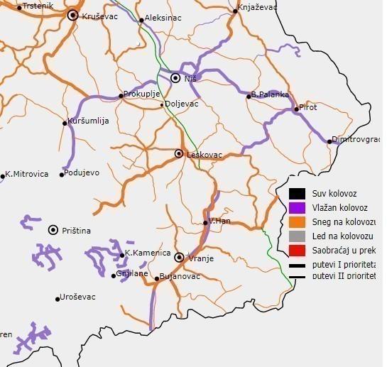 Опрез: Влажни коловози на путевима југа Србије