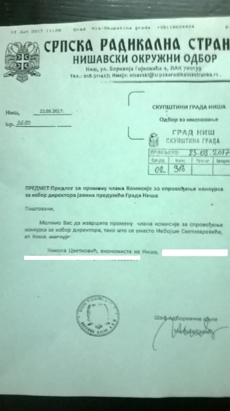 Радикали именовали члана Комисије за избор директора у Нишу, иако се ради о сукобу интереса