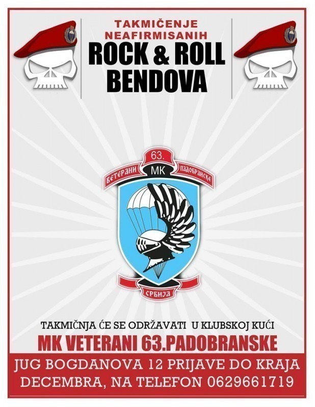 """Rokenrol nikad ne umire"" - MK Veterani 63. padobranske brigade organizuju takmičenje neafirmisanih rok bendova"