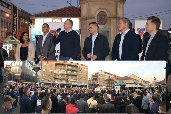 """""""Савез за Србију"""" одржао скуп испред ТЦ """"Калча"""" у Нишу"""