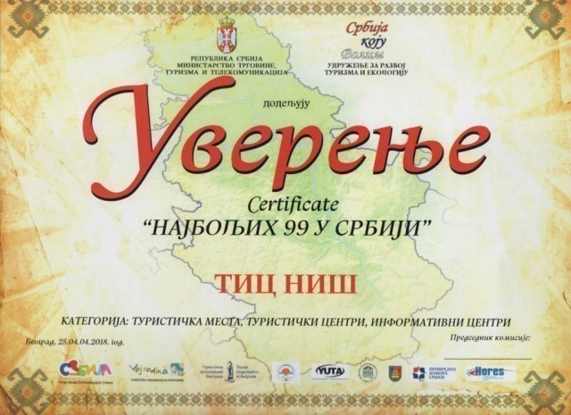 "Grad Niš i Turističko informativni centar Niš, dobitnici sertifikata ""Najboljih 99 u Srbiji"""