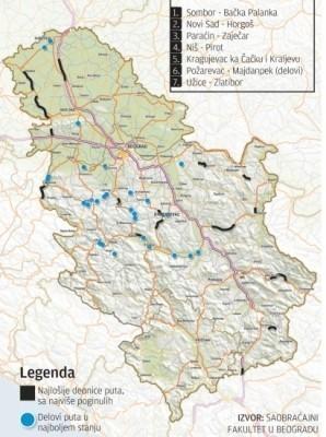 Истраживање: Најгоре деонице путева у Србији