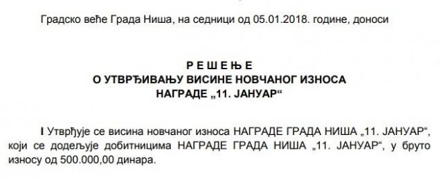 """Pola miliona dinara za dobitnike nagrade """"11 januar"""""""
