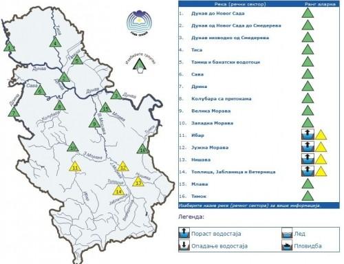 Жути аларм - Пораст водостаја река на југу Србије