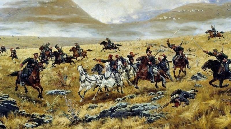 Нижегородски драгунски пук прогони Турке крај Карса, 1877. Аутор слике - Алексеј Кившенко, Википедија
