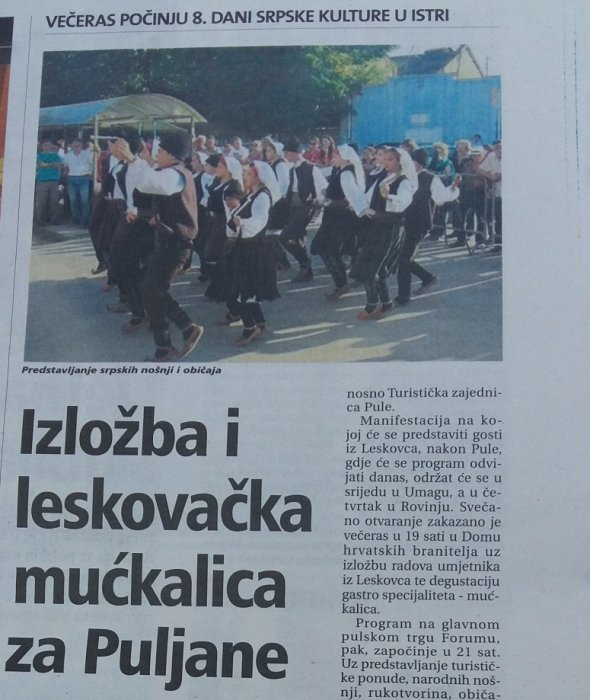Izložba i leskovačka mućkalica na Danima srpske kulture u Istri