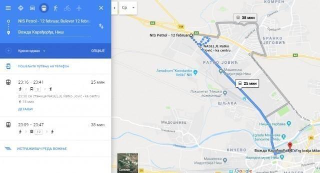Линије градског превоза у Нишу од сада и на Гуглу