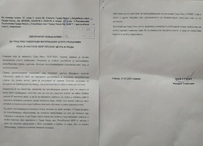 Скупштинска опозиција у Нишу тражи надокнаду за грађане који су претрпели штету због невремена
