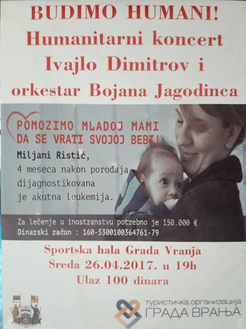 Vranjanci organizuju humanitarni koncert za Miljanu