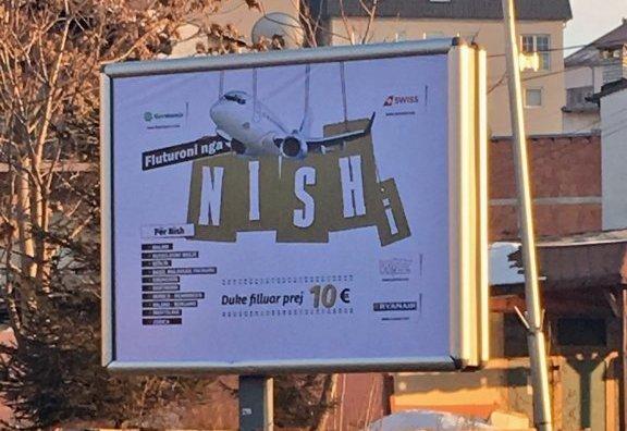 Reklama TON-a na albanskom u Prištini za letove iz Niša