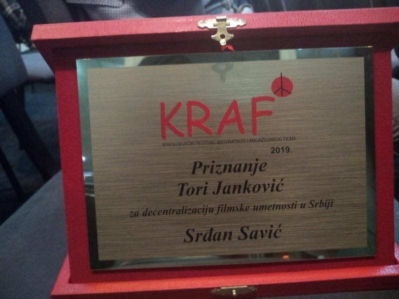 """Direktoru NKC-a priznanje """"Tori Janković"""" za decentralizaciju filmske umetnosti u Srbiji"""
