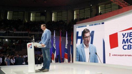 Vučić na predizbornom mitingu Srpske napredne stranke u hali Čair